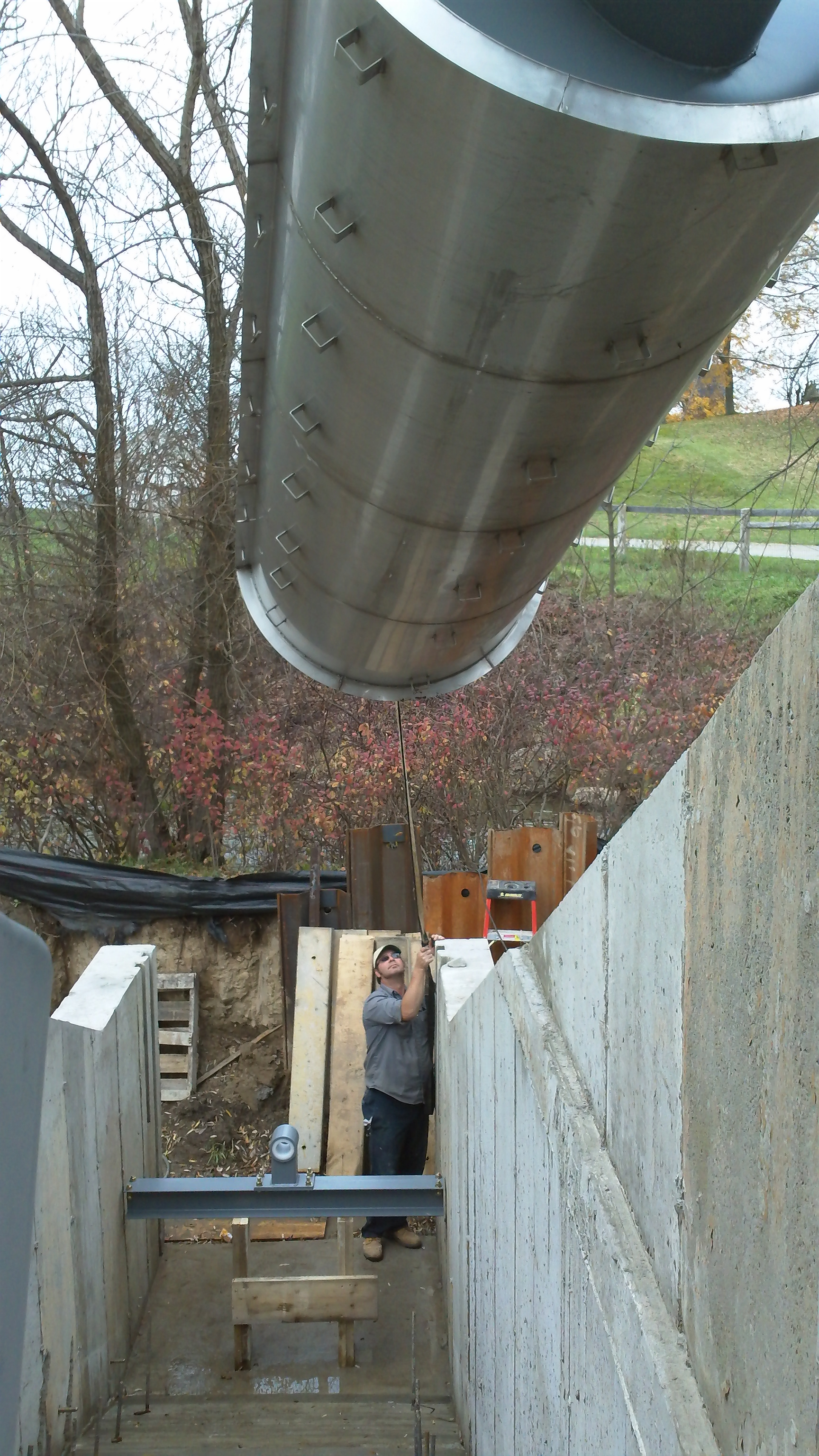 archimedes screw and trough being craned into place