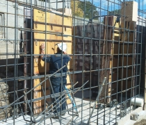 setting up concrete forms around rebar structure