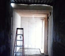 inside old mill building tunnel looking toward new addition