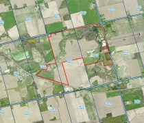 Aerial photo of site - Fletcher\'s Horse Farm.